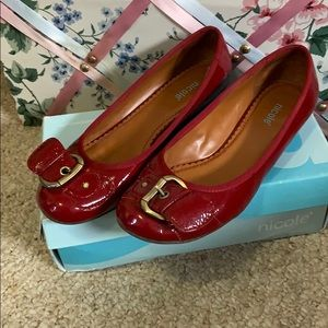 cherry red buckle flats